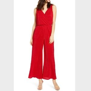 All In Favor red sleeveless crop wide leg jumpsuit